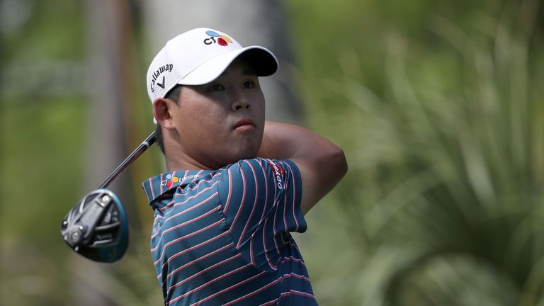 Si Woo Kim mixed five birdies with two bogeys