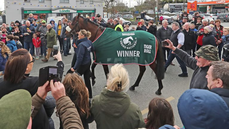 Trainer Gordon Elliot and Grand National winner Tiger Roll  during the homecoming parade through Summerhill Village, County Meath