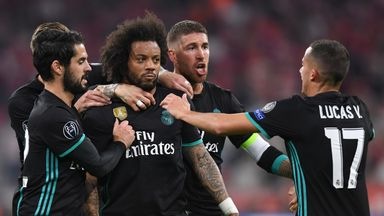 Marcelo is congratulated by team-mates after equalising for Real Madrid