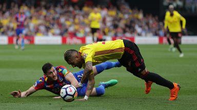 Joel Ward and Roberto Pereyra during Watford vs Crystal Palace