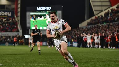 Jacob Stockdale of Ulster slips past the Ospreys back line to score the only try of the game