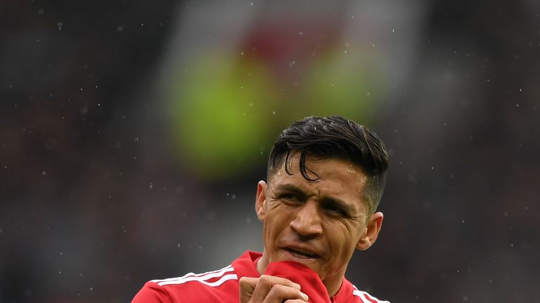 Alexis Sanchez during the Premier League match between Manchester United and West Bromwich Albion at Old Trafford