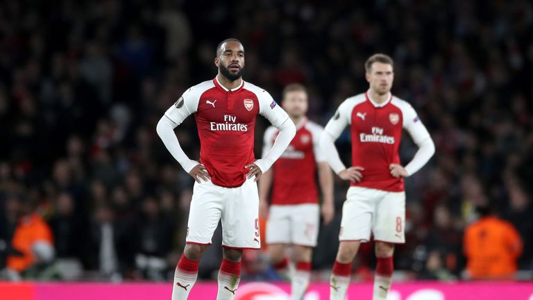 Arsenal's Alexandre Lacazette (left) reacts after seeing his side concede during the UEFA Europa League semi-final, first leg match v Atletico Madrid at the Emirates Stadium, London.