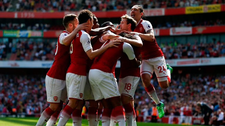 Nacho Monreal scores Arsenal's first goal of the game against West Ham