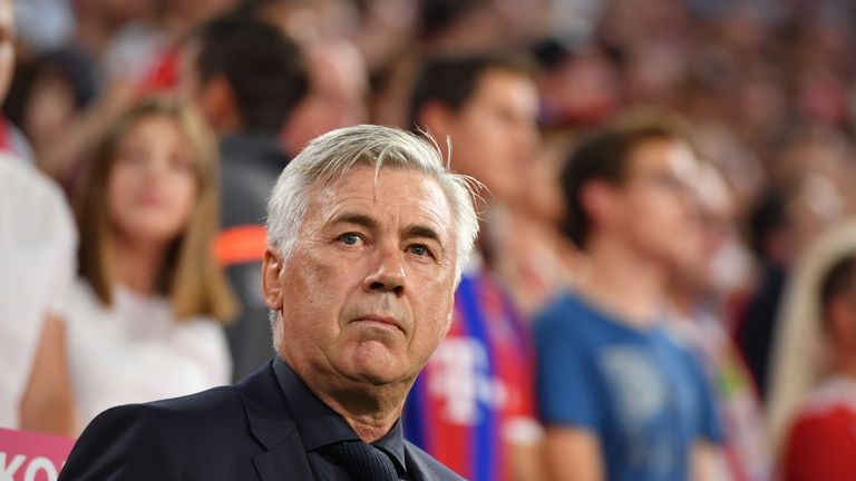 Carlo Ancelotti during the Bundesliga match between Bayern Munich and Bayer Leverkusen at the Allianz Arena on August 18, 2017