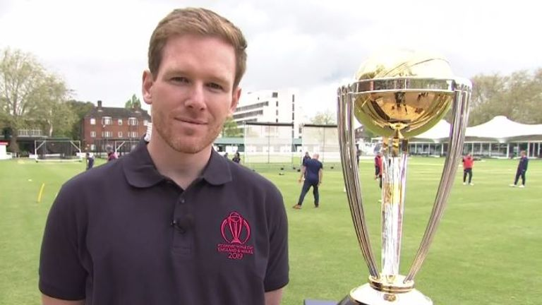 England white-ball captain Eoin Morgan with the ICC Cricket World Cup trophy at Lord's