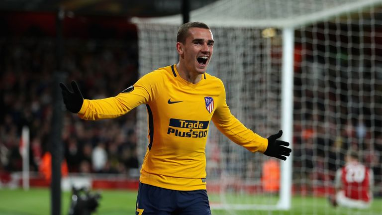 Antoine Griezmann celebrates his 82nd minute strike against Arsenal