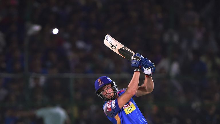 Jos Buttler cracks one of two sixes in his enterprising innings for Rajasthan Royals (Credit: AFP)