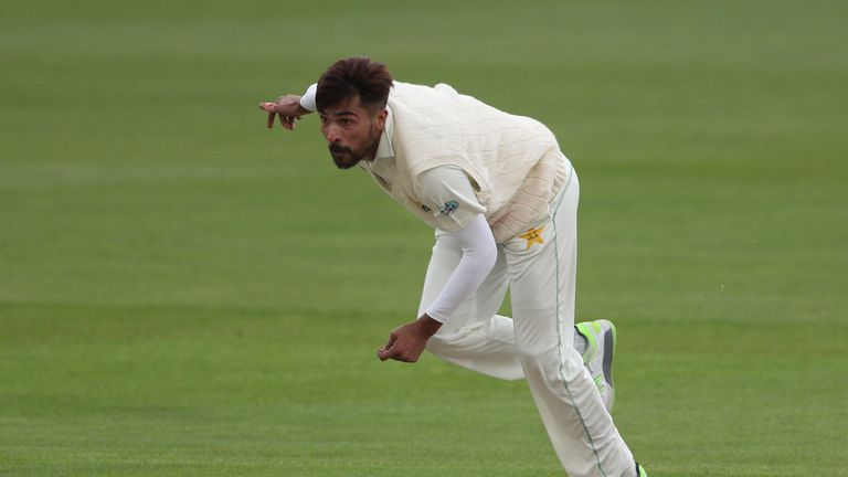 CANTERBURY, ENGLAND - APRIL 28: Mohammad Amir of Pakistan bowls on day 1 of the tour match between Kent and Pakistan on April 28, 2018 in Canterbury, England. (Photo by Sarah Ansell/Getty Images).