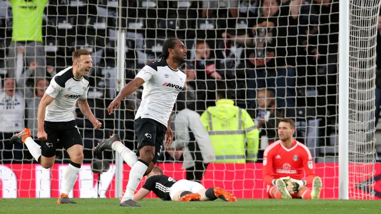 Cameron Jerome celebrates after giving Derby the lead in Friday's first leg
