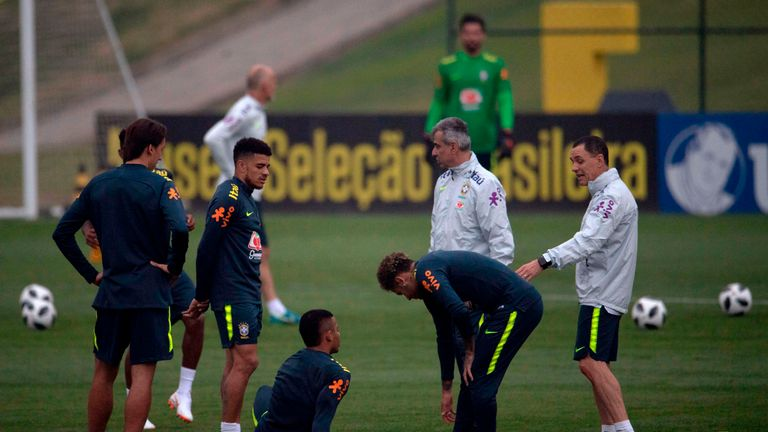 Neymar was in fitness training alongside 10 other Brazil players