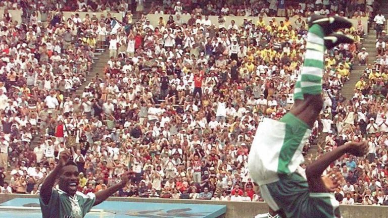 Babayaro enjoys Nigeria's equaliser against Brazil in the 1996 Olympics semi-final