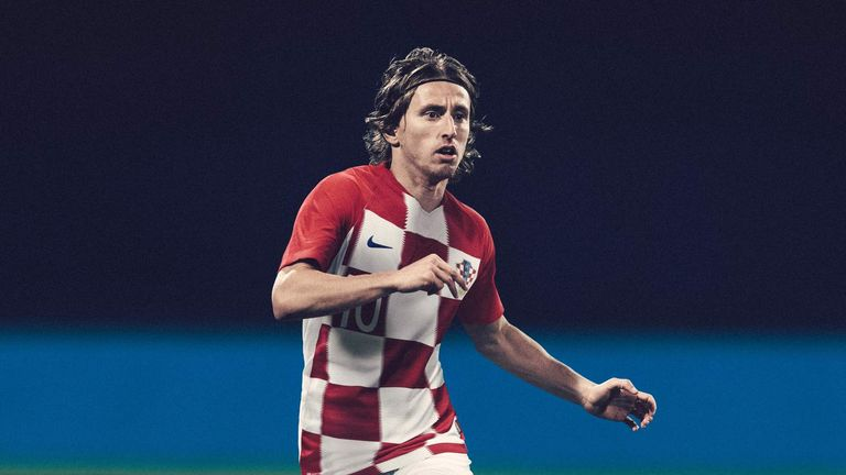 Luka Modric models the new Croatia home shirt - with a thicker  checkerboard pattern