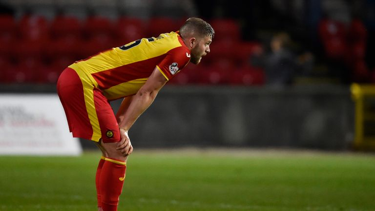Partick's Danny Devine looks dejected after defeat to Motherwell