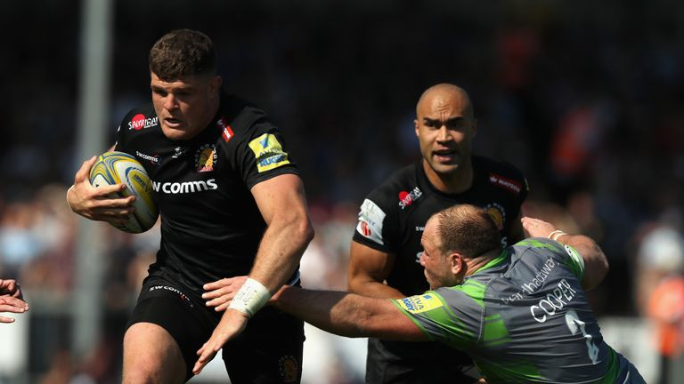 The Exeter Chief en route to scoring his first Premiership try of the season