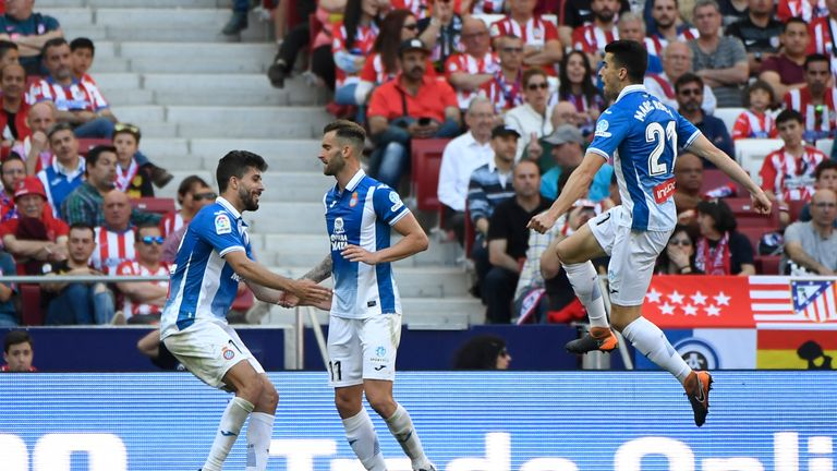 Leo Baptistao scored Espanyol's second as they beat Atletico Madrid