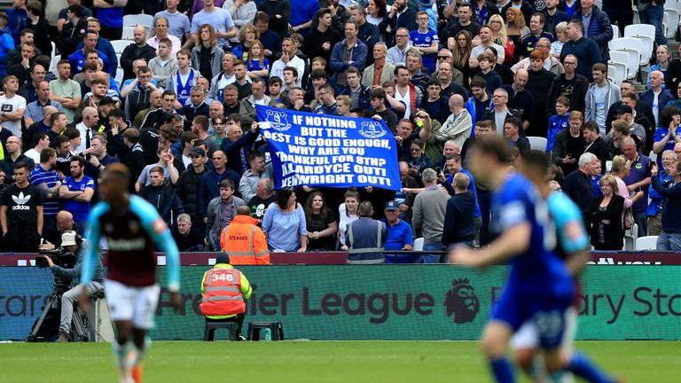 Everton fans made it clear they were unhappy with Allardyce's style