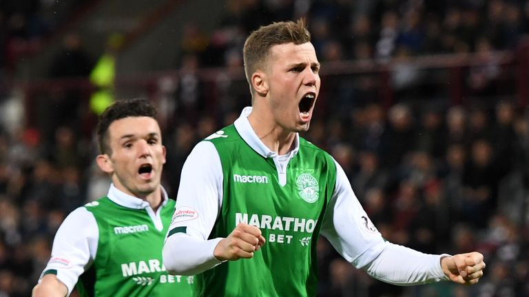 Florian Kamberi scored a hat-trick as Hibs took a commanding first-leg lead