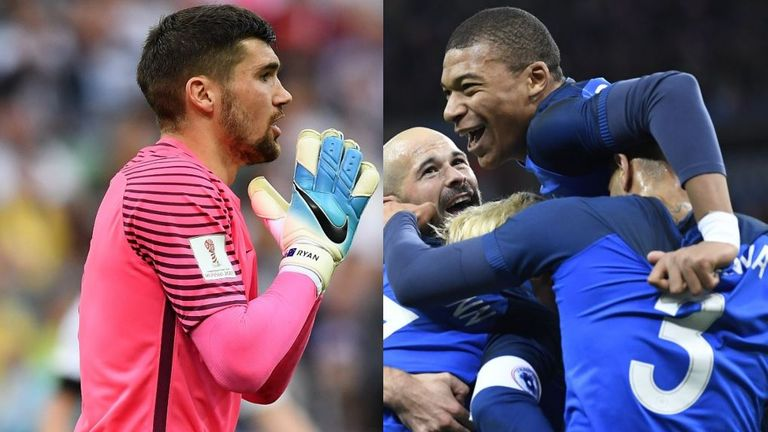 Brighton goalkeeper Mat Ryan is set to come up against France in Australia's World Cup opener on June 16