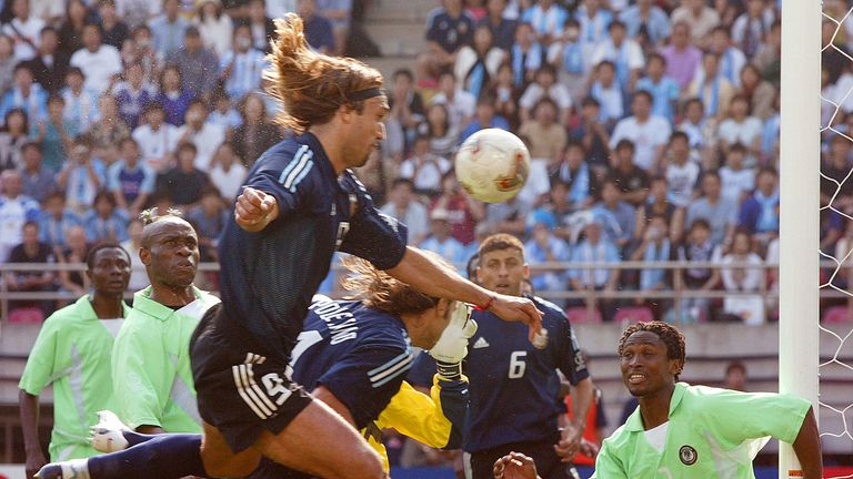 Gabriel Batistuta scoring for Argentina against Nigeria in the 2002 World Cup