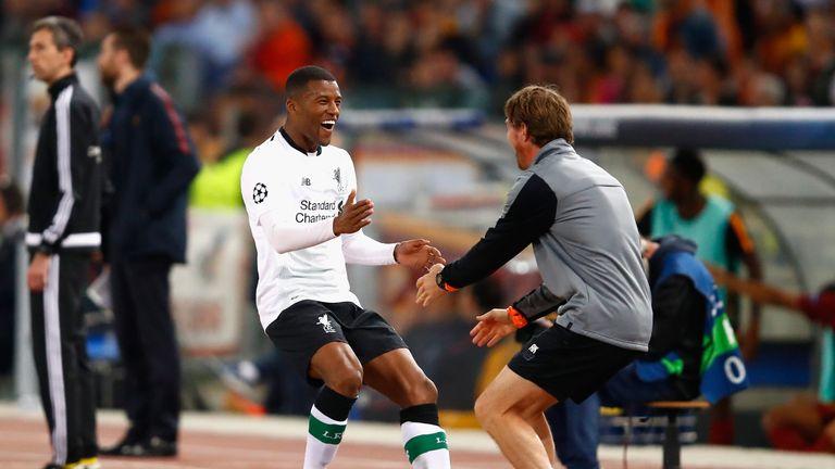 Giorginio Wijnaldum celebrates after putting Liverpool 2-1 up