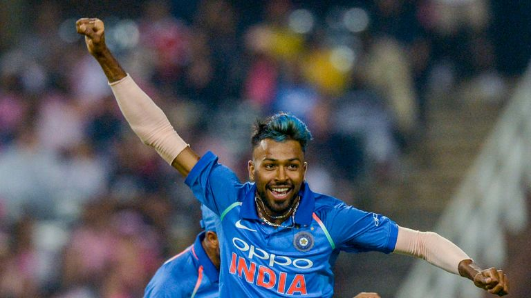 Hardik Pandya celebrates taking a wicket for India