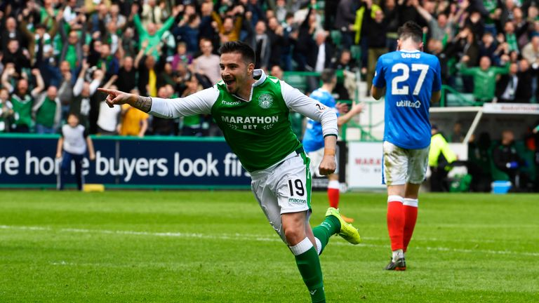 Jamie Maclaren was the stoppage-time hero for Hibernian