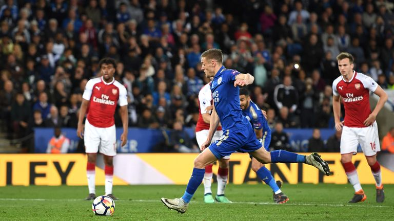 Jamie Vardy is Leicester's penalty taker in the Premier League