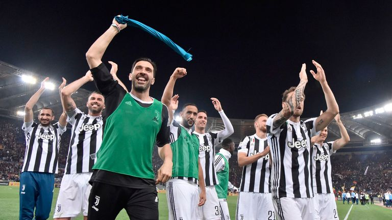 Gianluigi Buffon and Juventus celebrate after sealing the title