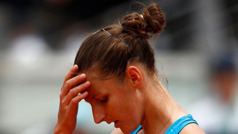 Karolina Pliskova fell to Maria Sakkari in the second round of the Italian Open