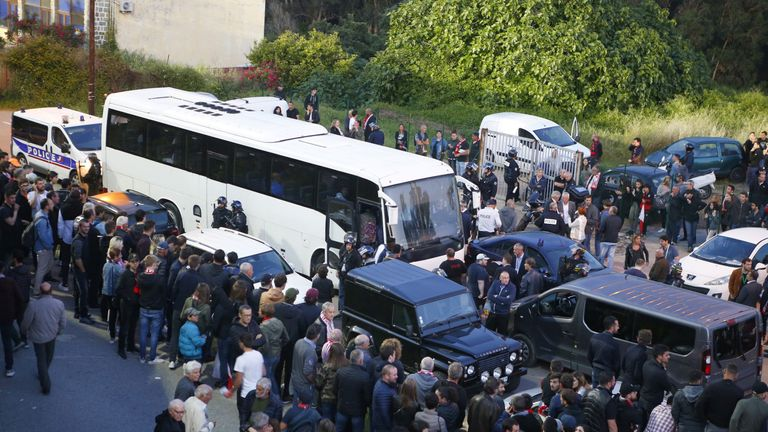 Le Havre's team bus was blocked in and attacked by Ajaccio fans