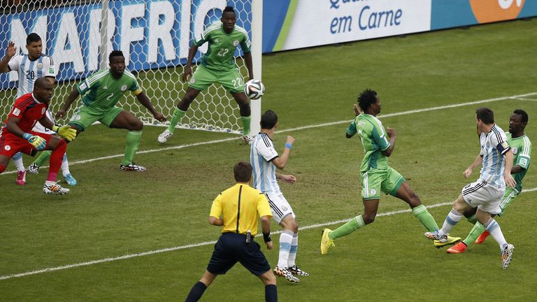 Messi scoring for Argentina against Nigeria in 2014