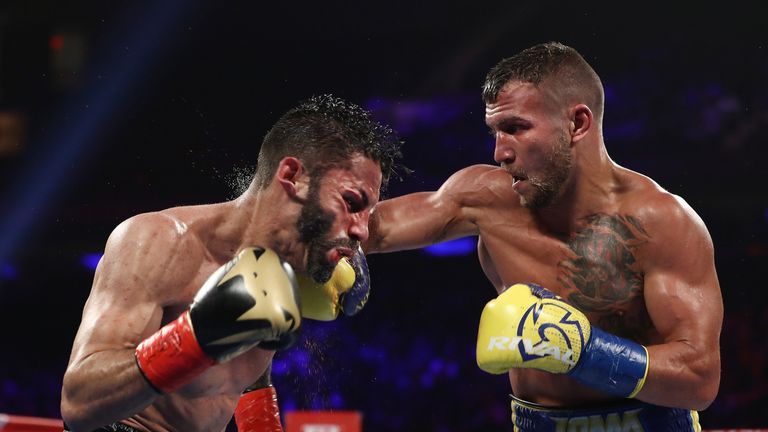Vasyl Lomachenko (right) defeated Jorge Linares at Madison Square Garden in New York City
