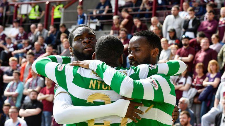 Celtic's Odsonne Edouard (L), Olivier Ntcham (C) and Moussa Dembele (R) celebrate