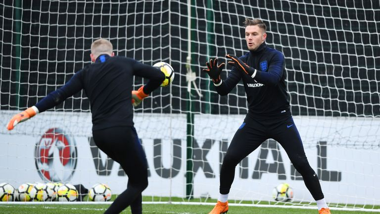 Pickford (left) with Butland (right) in England training