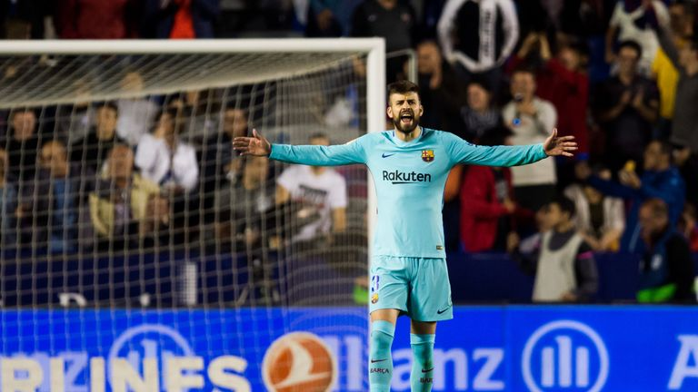 Gerard Pique shows his disgust as Barcelona slip to defeat against Levante