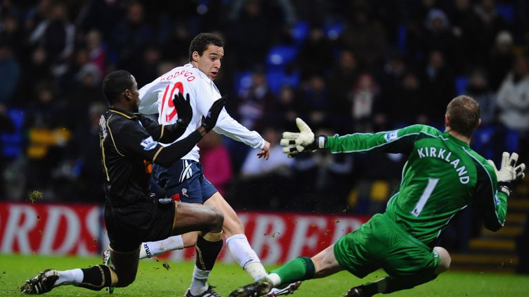 A young Rodrigo scores for Bolton against Wigan in January 2011
