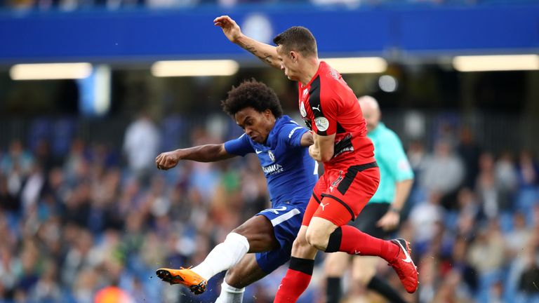 Willian and Jonathan Hogg in action at Stamford Bridge