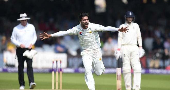 Mohammad Amir wheels off in celebration after bowling Jonny Bairstow