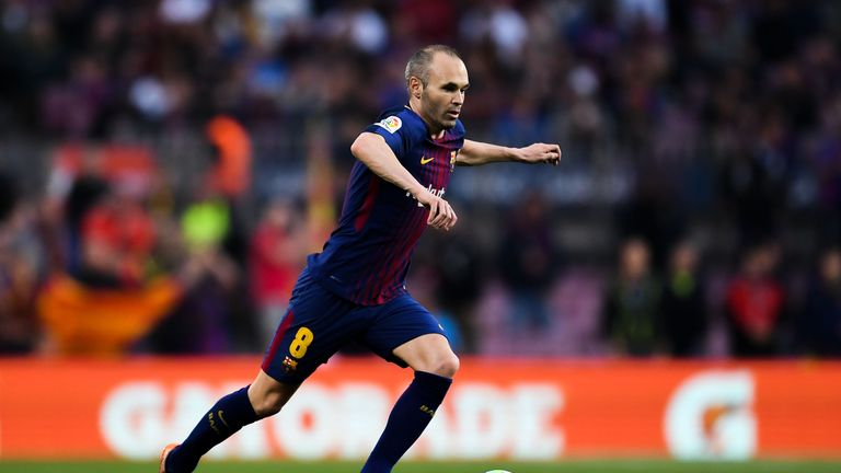 Andres Iniesta in action during the La Liga match between Barcelona and Villareal