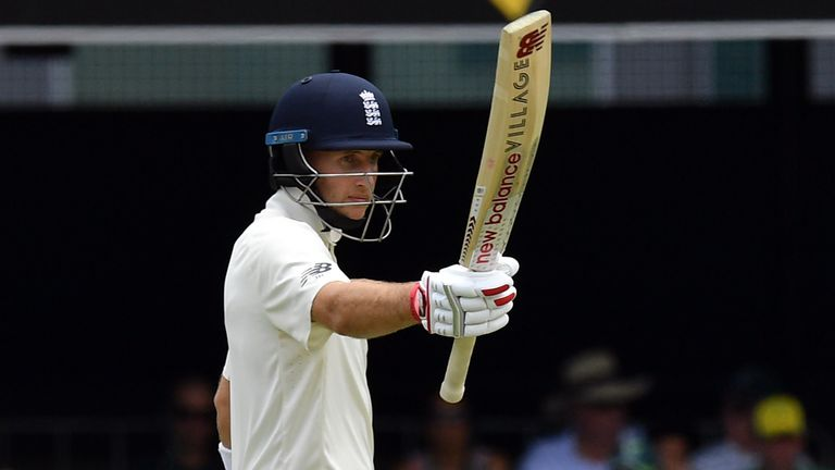 Joe Root raises his bat after reaching fifty during the 2017/18 Ashes