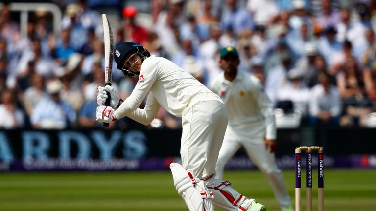 Joe Root plays a shot during England's second innings