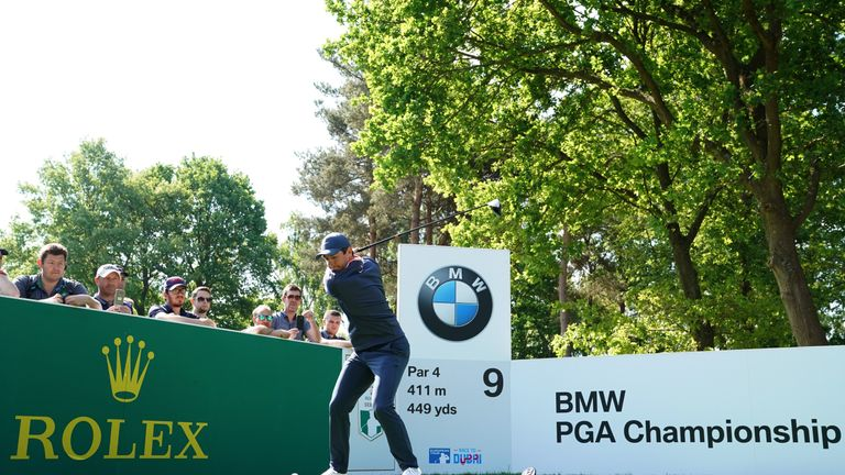Rory McIlroy tees off on the ninth hole during a practice round ahead of the BMW PGA Championship at Wentworth