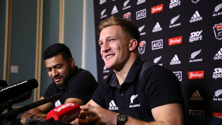 Richie Mo'unga and Damian McKenzie address the media during the All Blacks' June series against France