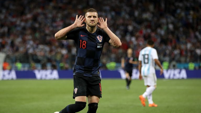 Ante Rebic celebrates after scoring for Croatia against Argentina