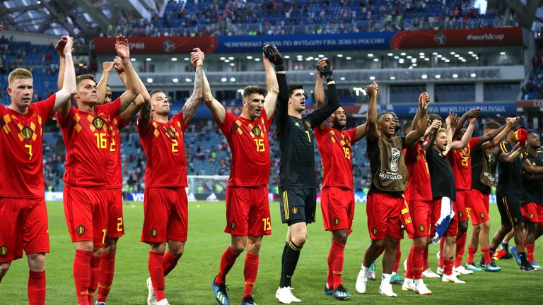 Belgium's players celebrate the 3-0, Group G victory over Panama