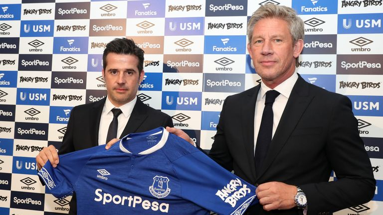 Marcel Brands (right) says Everton must trim their squad this summer