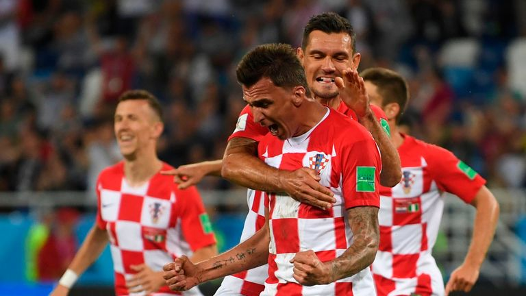 Mario Mandzukic celebrates after Nigeria's Oghenekaro Etebo scored an own goal