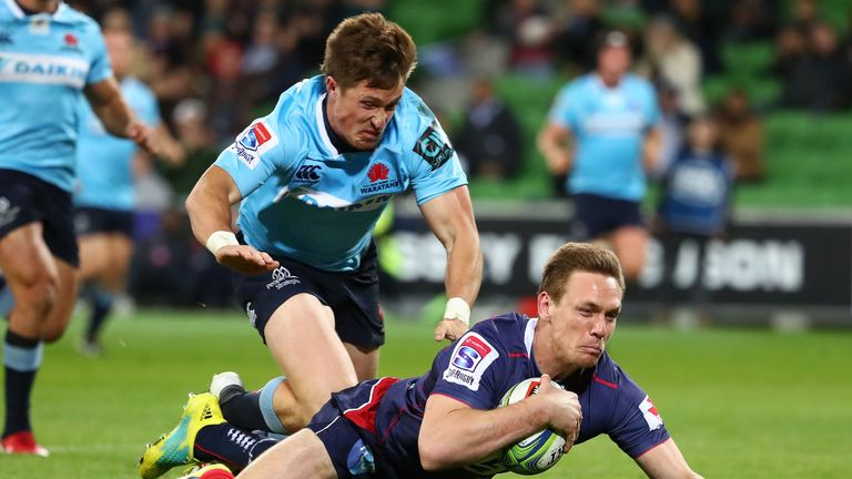 The Rebels' Dane Haylett-Petty touches down for a try against the Waratahs in Melbourne