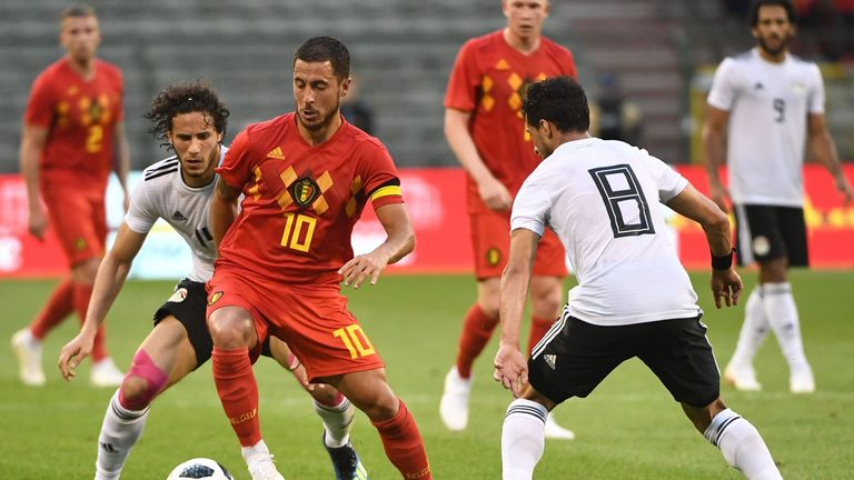 Eden Hazard in action for Belgium in a recent friendly